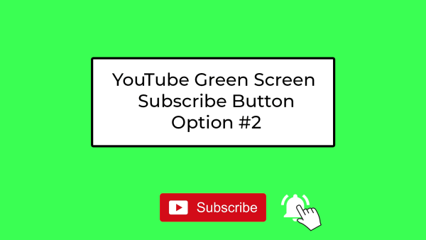 YouTube Green Screen Subscribe Button - Simple #2 - subscribe button and bell with click (white bell)
