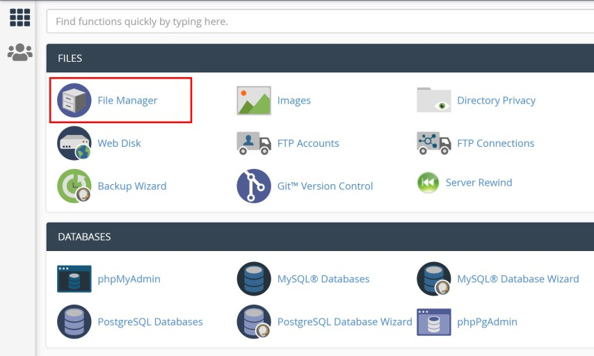 Move a Live WordPress Website to Localhost Server - 1. cPanel home - file manager