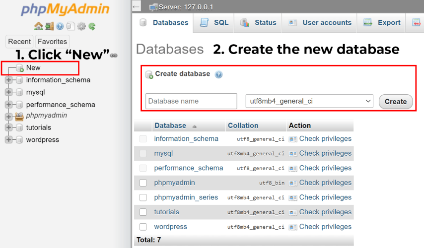 Move a Live WordPress Website to Localhost Server - 8. create a new database for your localhost wordpress site