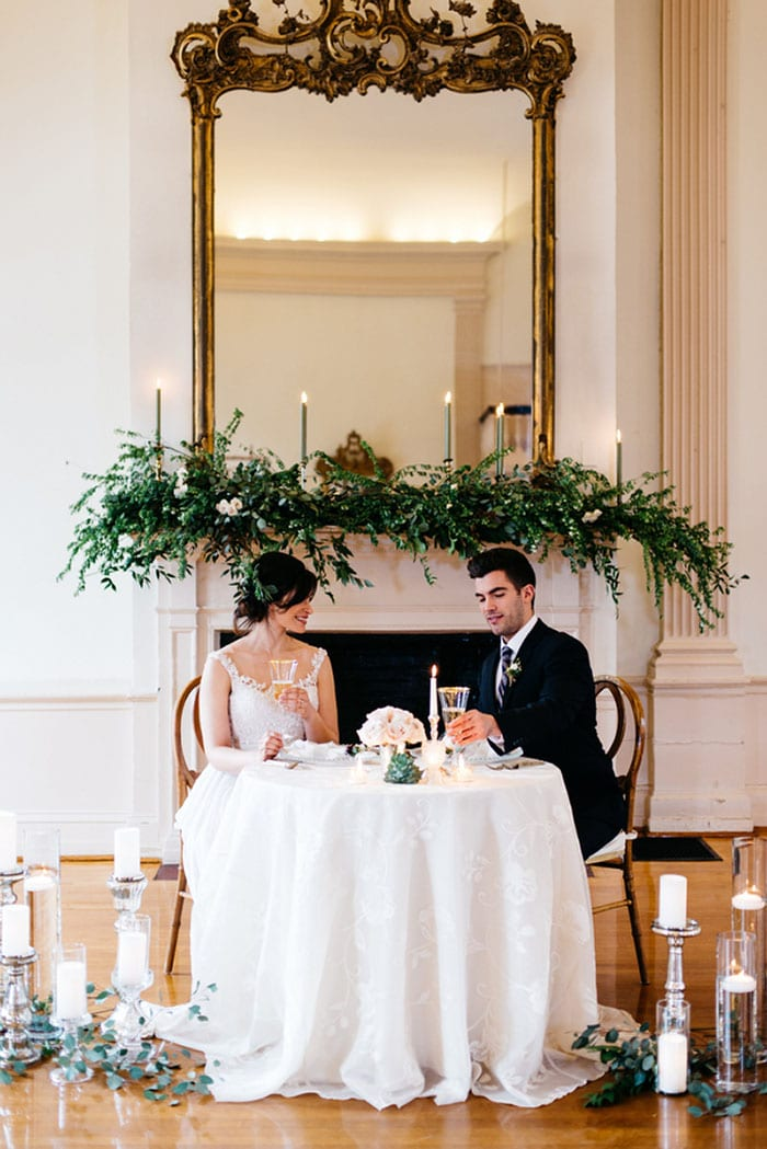 Ballroom Sweetheart Table with Romantic Greenery and ...