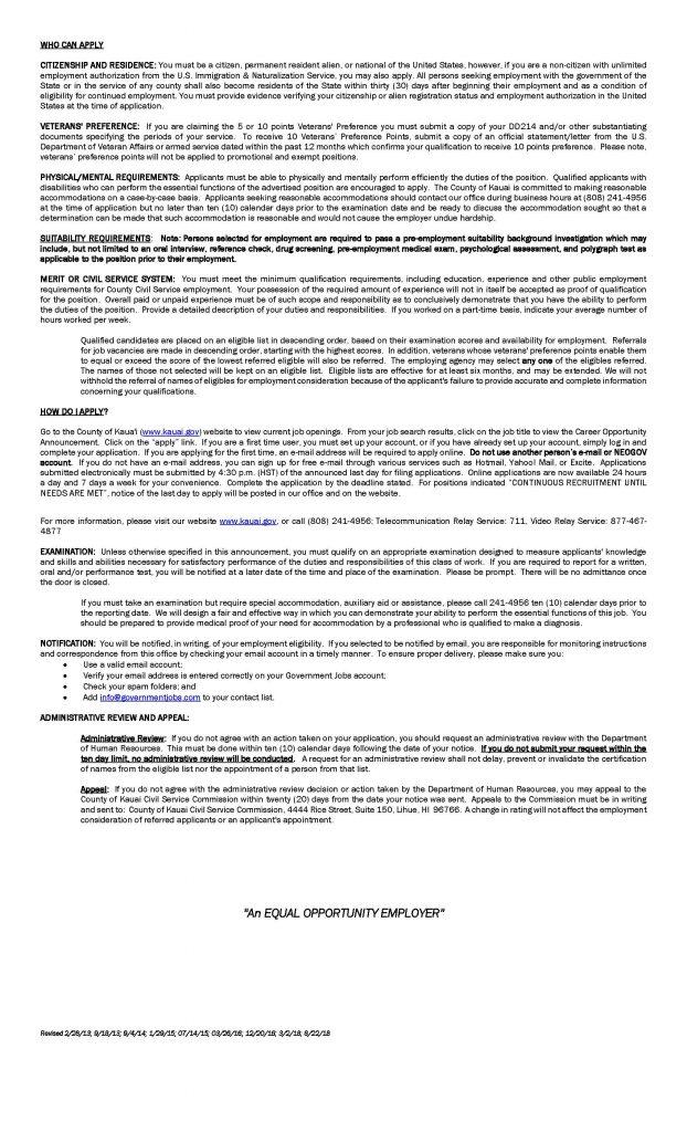Kauai  Economic Development Specialist IV Agriculture