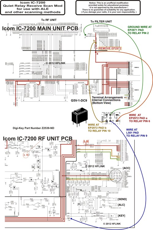 small resolution of schematic icom ic 7200 quiet relay receive scan mod
