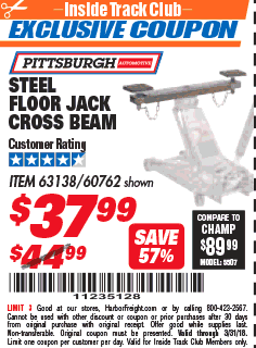 Steel Floor Jack Cross Beam : steel, floor, cross, Harbor, Freight, Tools, Coupon, Database, Coupons,, Percent, Toolbox, Coupons, STEEL, FLOOR, CROSS