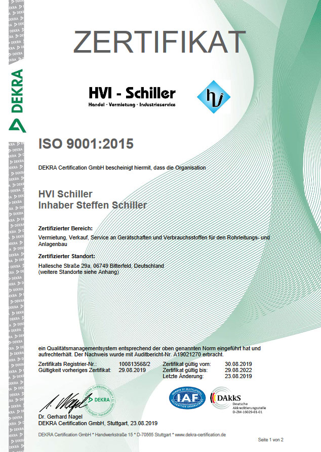 ISO Zertifikat HFS Halle 1