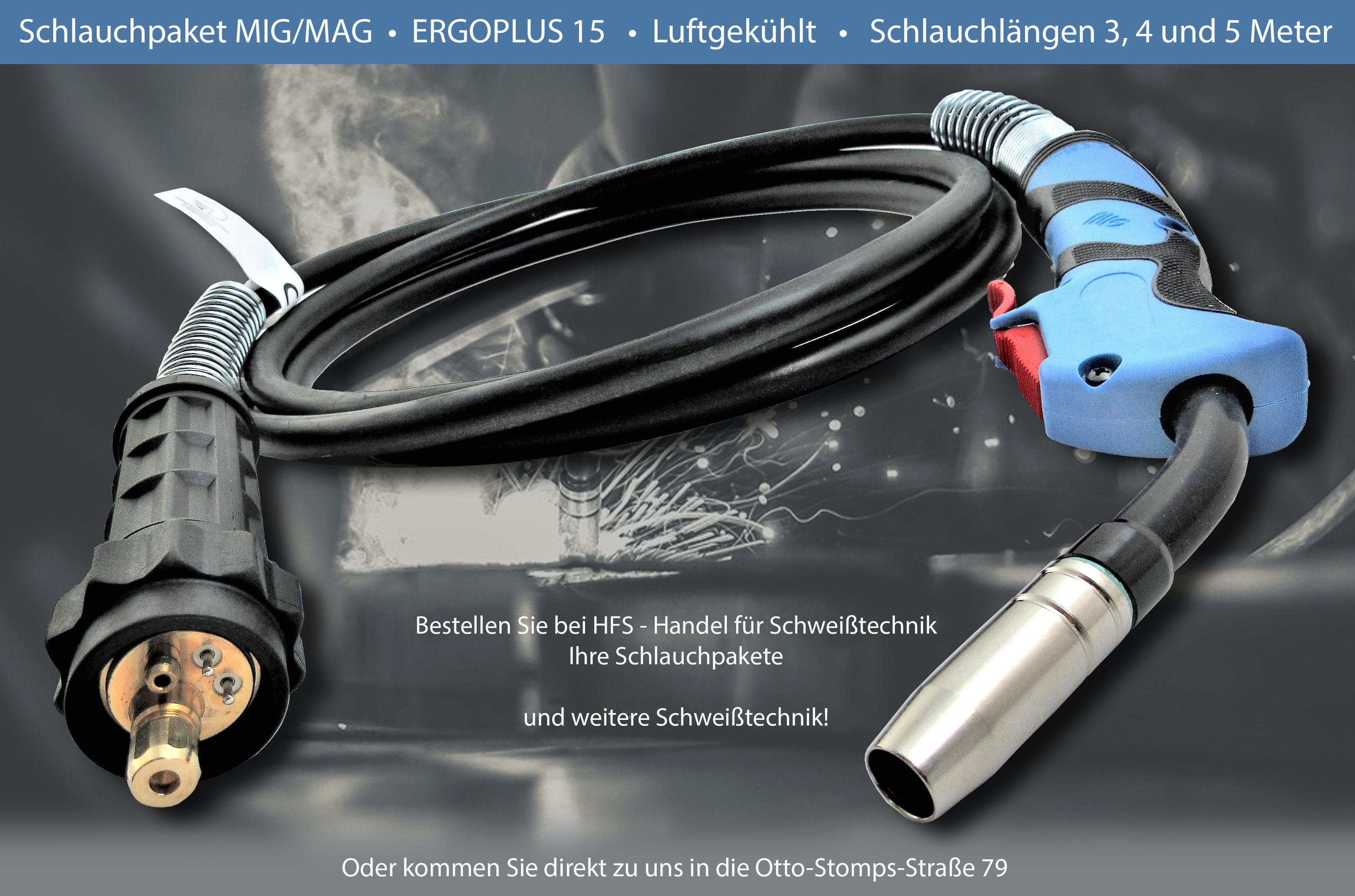 MIG/MAG Schlauchpaket Ergoplus15 luftgekühlt Schlauchlänge 3, 4 und 5 Meter