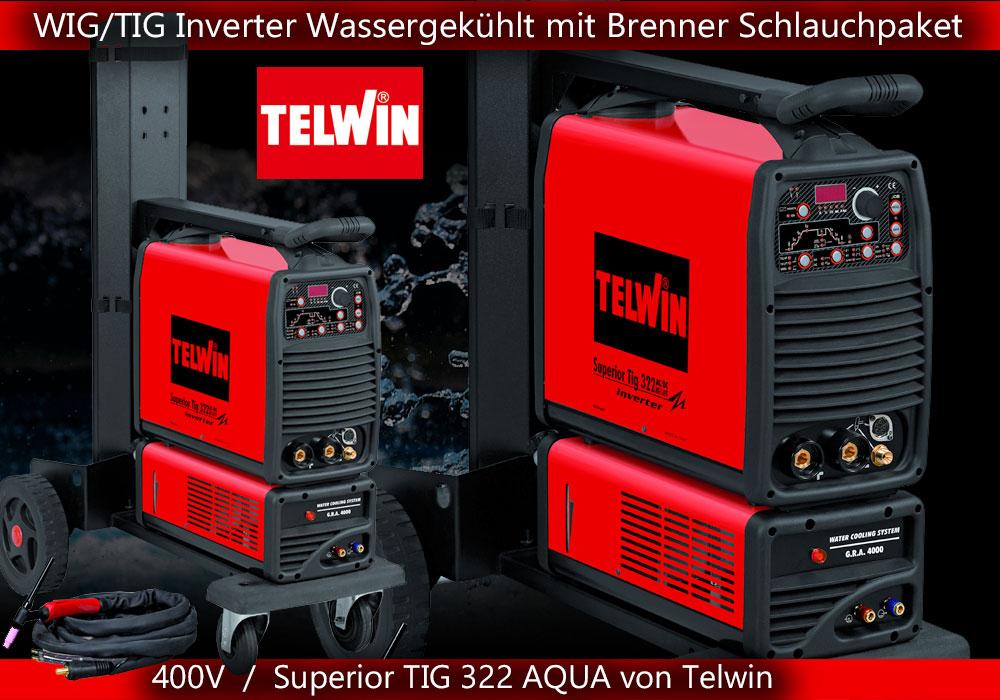 wig tig schweissgeraet inverter 400v wassergekühlt wasserkühlung ac/dc pulse hf lift telwin superior 322 aqua