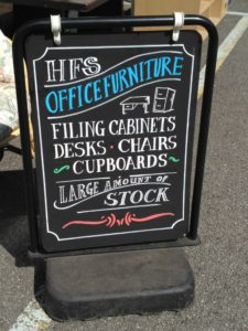office furniture sign at HFS Bexhill
