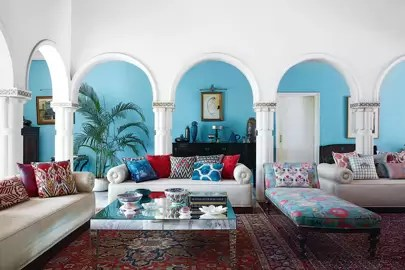 blue walls living room black wall clock ideas paint for rooms house with soft