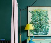 teal and green bedroom