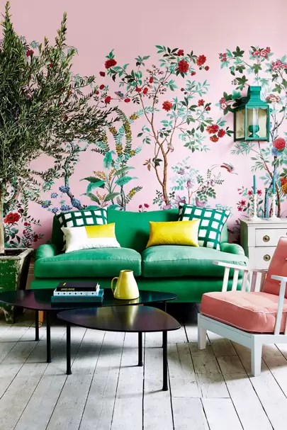 green sofa living room ideas small arrangement with tv design pictures decorating bright and pink