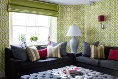 wallpaper for living room ideas formal without fireplace house garden lime green patterned ottoman design pictures