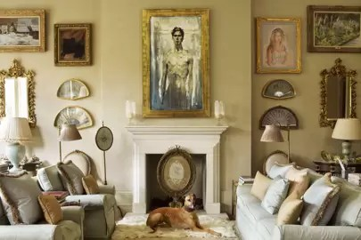 traditional english living room design l shaped dining furniture placement country ideas house garden apartment pictured one of william s early self portraits hangs above the chimneypiece in drawing offset by a mixture and more