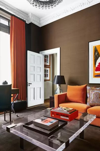 brown and orange living room set with free tv modern retro ideas furniture designs decorating seventies symphony