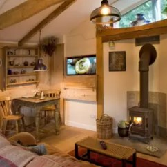 Living Room With Log Burner Console Tables Rustic Interior Design House Garden Lodge Wood