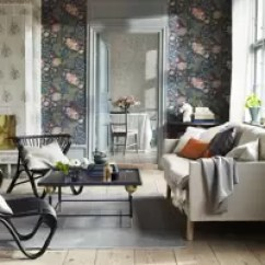 Wall Paper For Living Room What Color Should I Paint My With A Brown Leather Couch Wallpaper House Garden Dark Florals Design Ideas