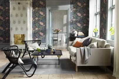 wallpaper for living room ideas tv unit modern design house garden dark florals