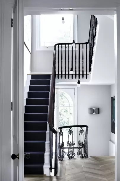 Stylish Stair Runner Carpet Ideas House Garden   Stairs With Carpet In The Middle   Modern   Popular   Laminate   Bright Striped   Royal Blue