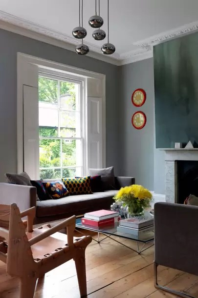 living room design with grey walls decorating modern ideas paint house garden and yellow accents