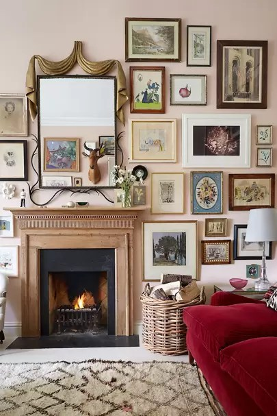 design small living room with fireplace drapes ideas house garden the sitting area in rita konig s london flat is a masterclass layering textiles different patterns and textures covering sofas cushions