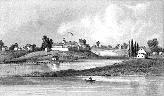 Tocqueville toured North America in 1831, but he didn't come to Chicago. Ft. Dearborn in 1831 from Wikimedia.