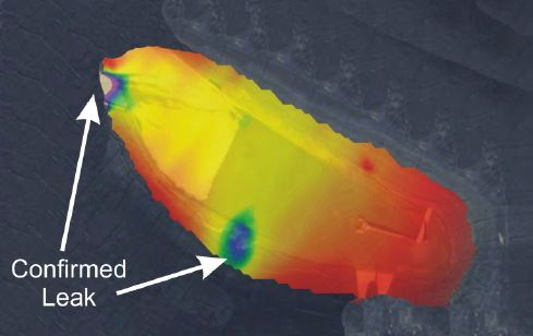 Contoured Liner Leak Location Results for mining ponds.