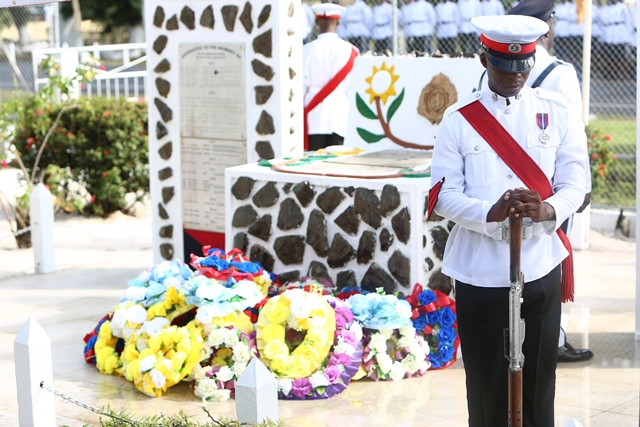 Wreath-laying ceremony for police in Guyana
