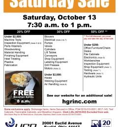 hgr industrial surplus october 2018 saturday sale flyer [ 2550 x 3300 Pixel ]
