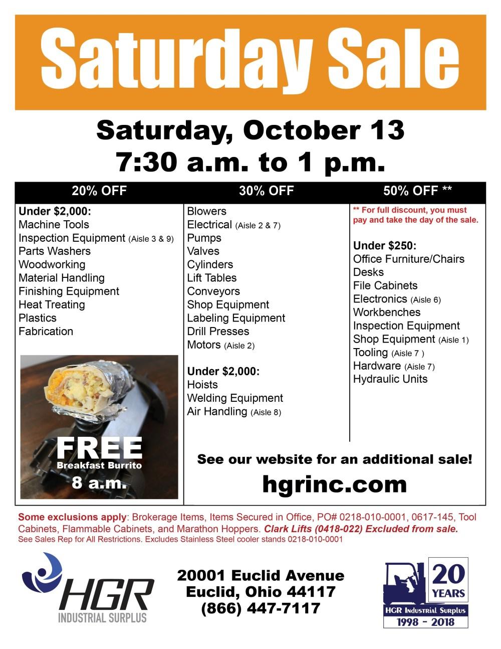 medium resolution of hgr industrial surplus october 2018 saturday sale flyer