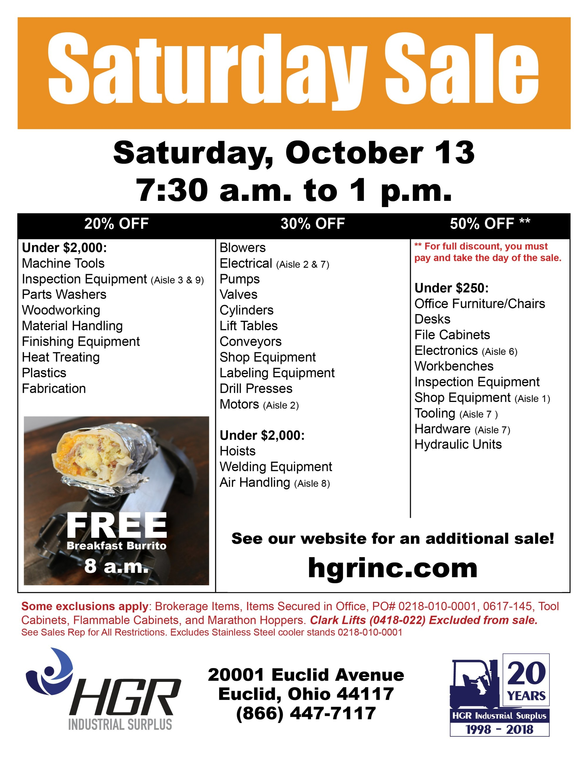 hight resolution of hgr industrial surplus october 2018 saturday sale flyer