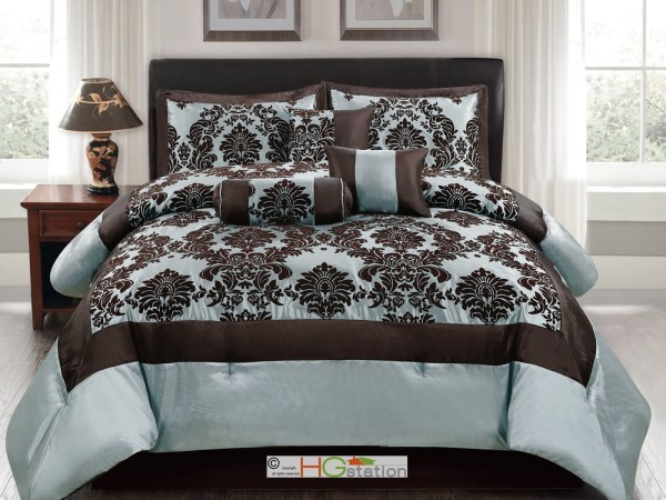 7p Silky Poly-satin Flocking Damask Floral Square