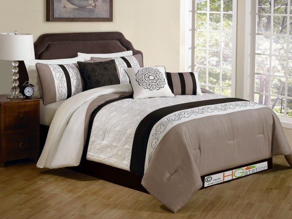 11-pc Comforter Set Quilted Embroidery Royal Floral Damask Gray Dark Brown White