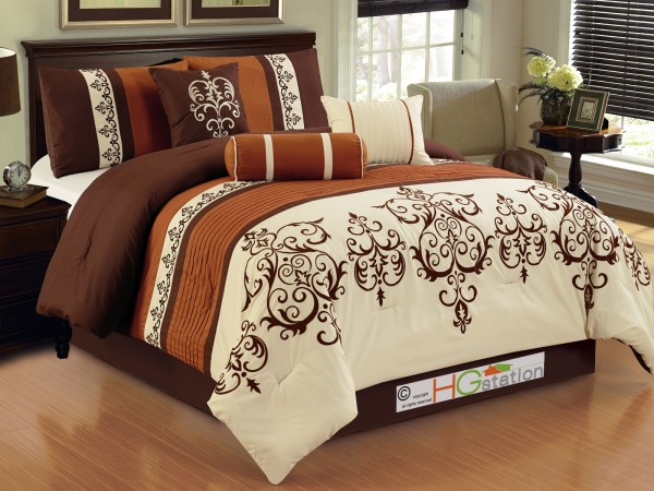 7- Pleated Scroll Damask French Lily Comforter Set King Rust Ivory Coffee Brown