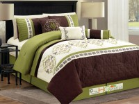 7-P Quilted Trellis Damask Floral Embroidery Comforter Set ...