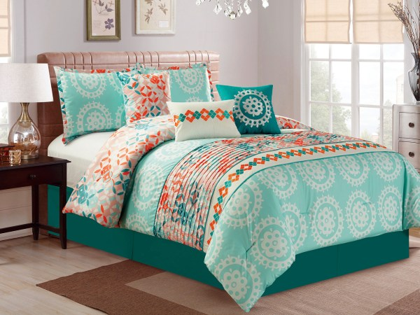 Coral and Teal Comforter Sets Queen
