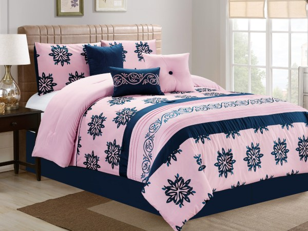 7-pc Prisca Floral Leaves Scroll Vine Damask Comforter Set Pink Navy Blue King 642709899556