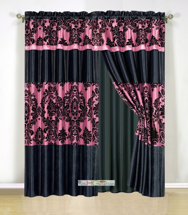 Hot Pink and Black Curtain