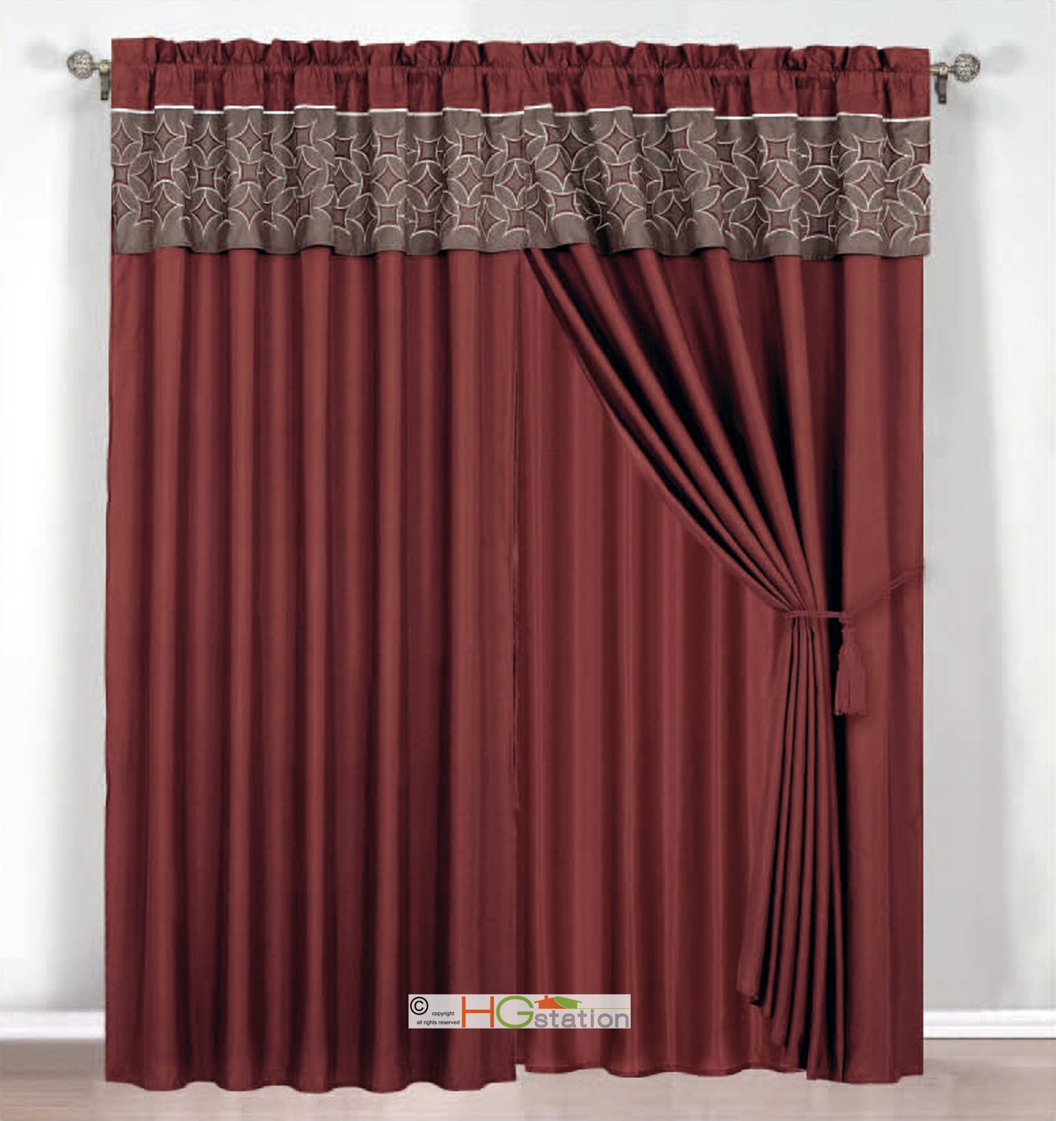 4 Pc Embroidered Medallion Circle Curtain Set Rust Coffee
