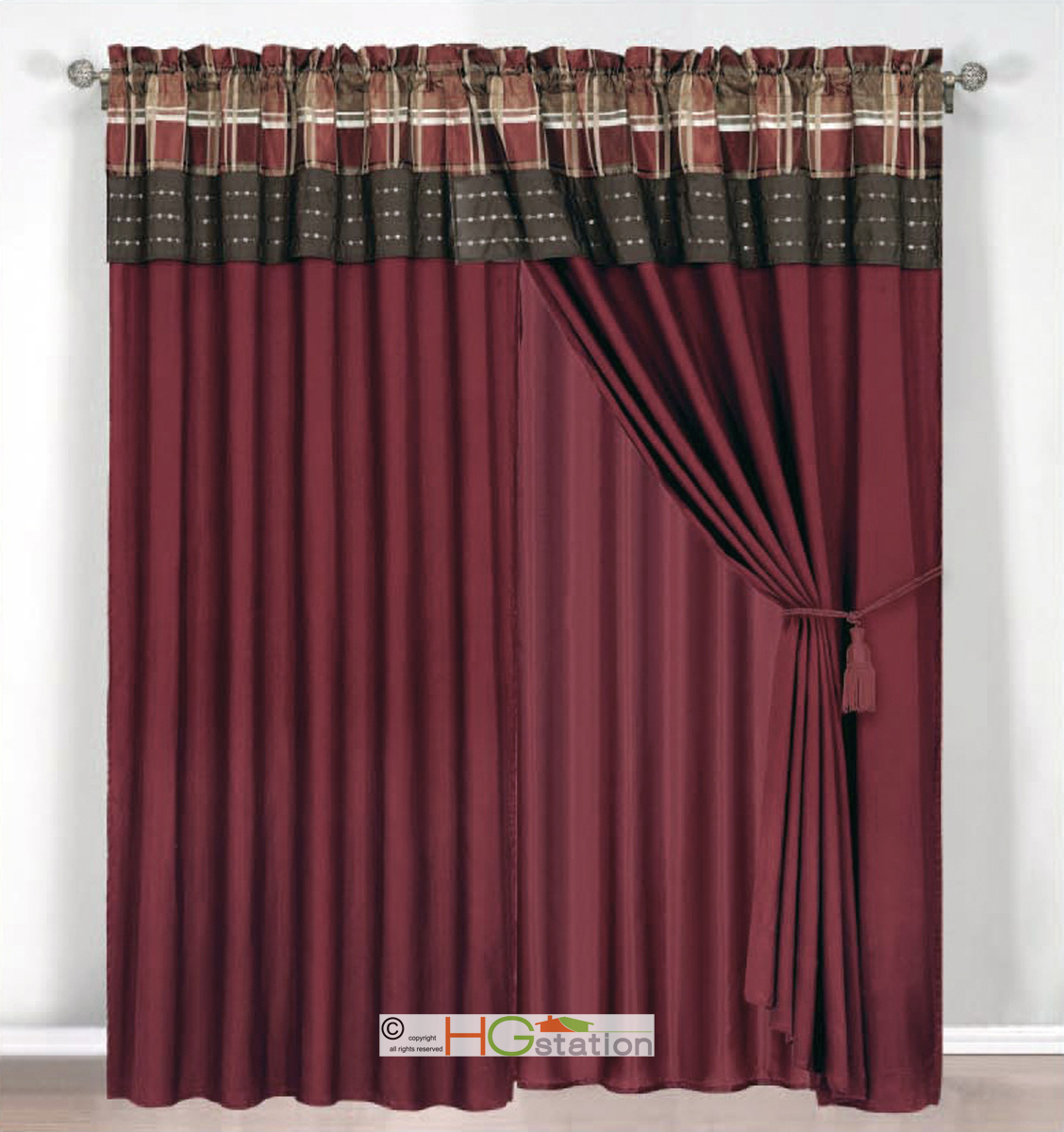 4 Pc Jacquard Autumn Plaid Curtain Set Burgundy Brown Rust