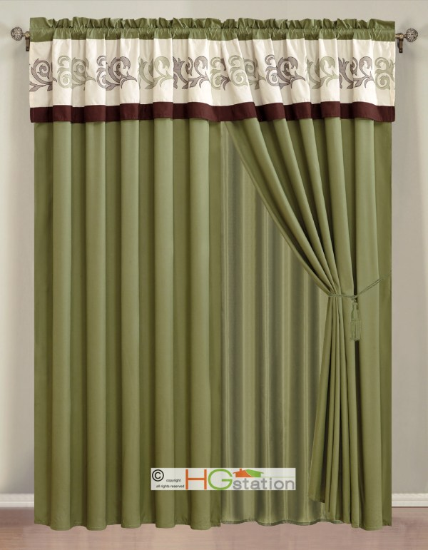 4-pc Embroidery Scroll Floral Vine Curtain Set Sage Ivory Brown Valance Sheer