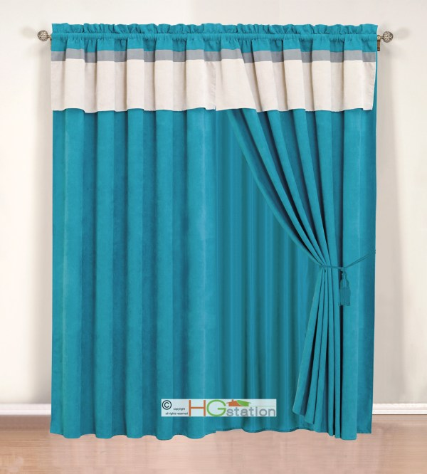 4-pc Stripe Solid Micro Faux Suede Curtain Set Blue Grey
