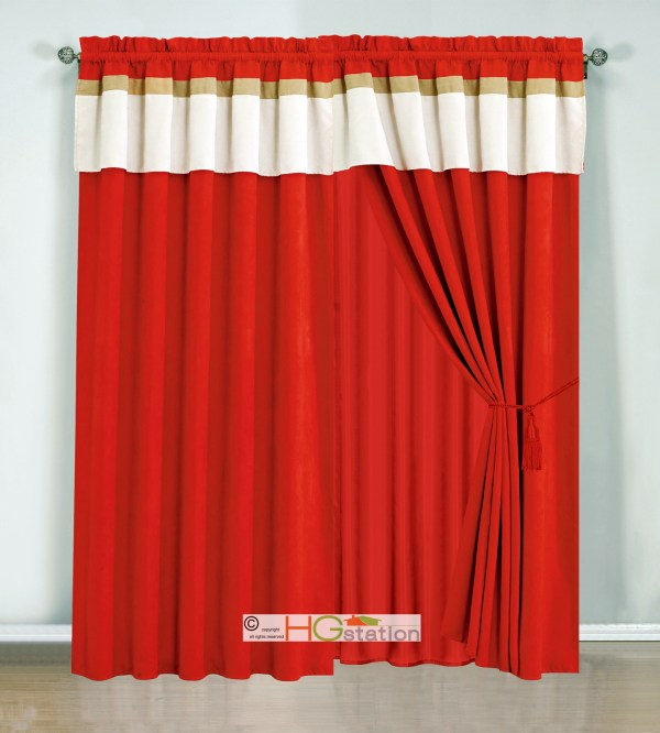 4p Stripe Solid Micro Faux Suede Curtain Set Red-orange