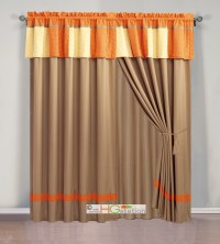 4Pc Cozy Patchwork Striped Quilted Curtain Set Orange ...
