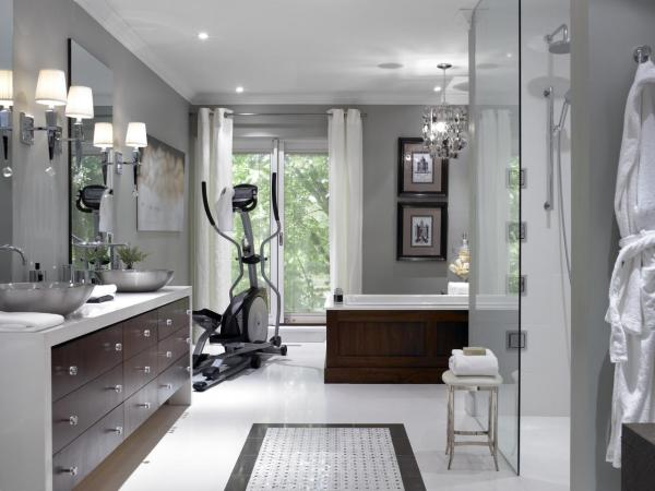 Spa Master Bathroom With Home Gym