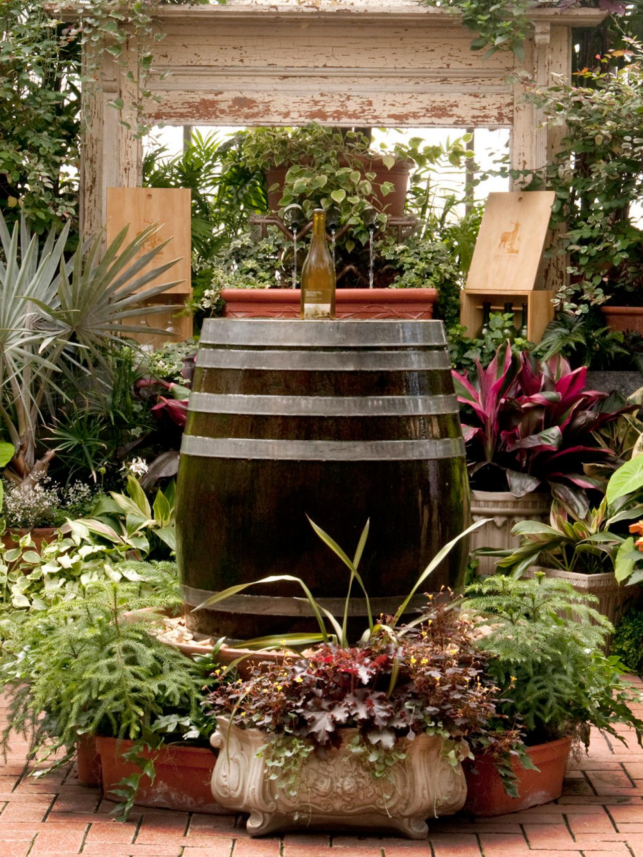 Wine Barrel Fountain and Bottle Diy Wine