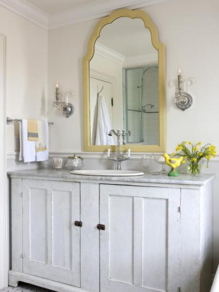 yellow and grey bathroom mirror Photo Page | HGTV
