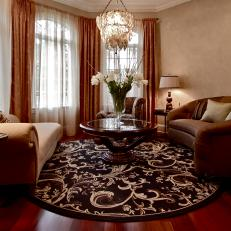 round area rug in living room how to decorate a with dark brown leather furniture photos hgtv elegant neutral tones