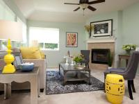 Mint Green Living Room With Yellow Accents