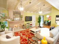 Yellow Living Room With Red Ikat Rug | HGTV