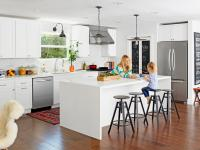 Contemporary White Kitchen and Living Room Makeover | HGTV