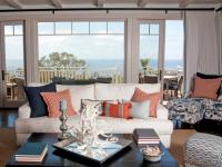 Navy and Coral Coastal Living Room